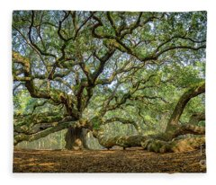 Angel Oak - Fisheye Fleece Blanket