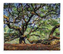 Angel Oak In Digital Oils Fleece Blanket