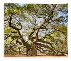 Angel Oak In Spring Fleece Blanket
