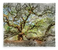 Angel Oak Mixed Media Fleece Blanket