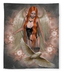 Angel Of The Ravens Fleece Blanket