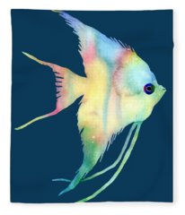 Angelfish I - Solid Background Fleece Blanket