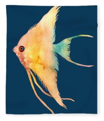 Angelfish II - Solid Background Fleece Blanket