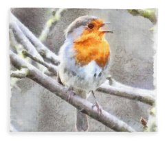 Angelic Robin Watercolor Fleece Blanket