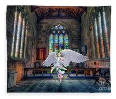 Angels Love And Guidance Fleece Blanket