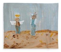 Angels Taking Care Of E Fleece Blanket