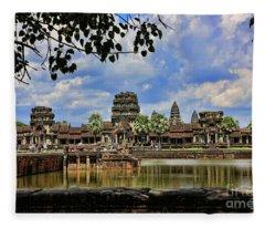 Angkor Wat Panorama  Fleece Blanket
