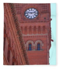 Angled View Of Clocktower At Dearborn Station Chicago Fleece Blanket