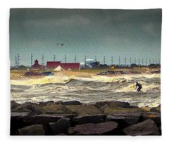 Angry Surf At Indian River Inlet Fleece Blanket