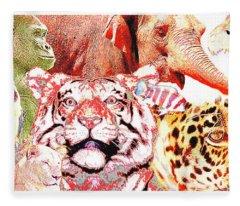 Animal Collage Digital Art Fleece Blanket