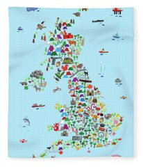 Animal Map Of Great Britain And Ni For Children And Kids Fleece Blanket