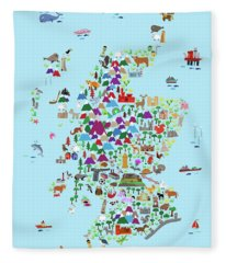 Animal Map Of Scotland For Children And Kids Fleece Blanket