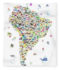 Animal Map Of South America For Children And Kids Fleece Blanket