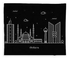 Ankara Skyline Travel Poster Fleece Blanket