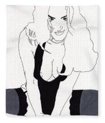 Anna-black Stockings Fleece Blanket