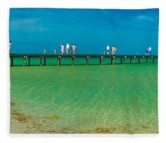 Anna Maria Island Historic City Pier Panorama Fleece Blanket