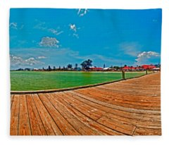 Anna Maria Island Seen From The Historic City Pier Panorama Fleece Blanket