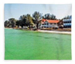 Anna Maria Island With Rod And Reel Pier Fleece Blanket