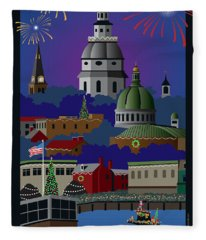Annapolis Holiday With Title Fleece Blanket