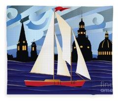Annapolis Skyline Red Sail Boat Fleece Blanket