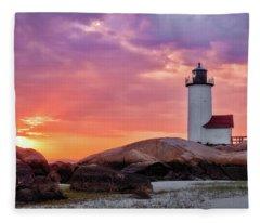 Annisquam Lighthouse,sunset Fleece Blanket