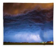 Another Impressive Nebraska Night Thunderstorm 008/ Fleece Blanket