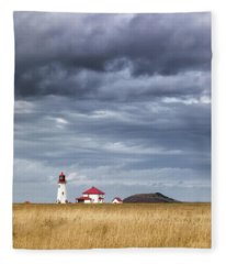 Anse A La Cabane Lighthouse On The Magdalen Islands Fleece Blanket