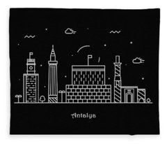 Antalya Skyline Travel Poster Fleece Blanket