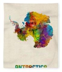 Antarctica Watercolor Map Fleece Blanket