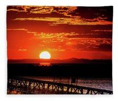 Antelope Island Marina Sunset Fleece Blanket