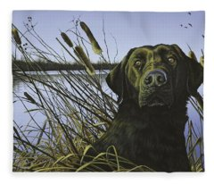 Anticipation - Black Lab Fleece Blanket