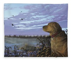 On Watch - Yellow Lab Fleece Blanket