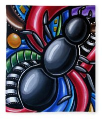 Ant Art Painting Colorful Abstract Artwork - Chromatic Acrylic Painting Fleece Blanket