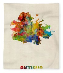 Antigua Watercolor Map Fleece Blanket