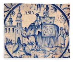 Continental Romantic Blue And White Ceramic Tile Depicting An Asian Elephant With Mahouts And Birds Fleece Blanket