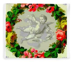 Antique French Cupid Inside A Wreath Of Roses Fleece Blanket