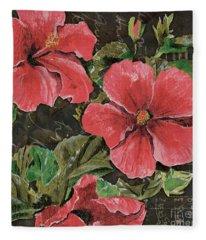 Antique Hibiscus Black 2 Fleece Blanket