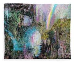 Antique Landscape With Rainbow Fleece Blanket