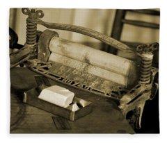 Antique Laundry Ringer And Handmade Lye Soap In Sepia Fleece Blanket