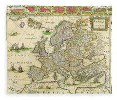Antique Maps Of The World Map Of Europe Willem Blaeu C 1650 Fleece Blanket