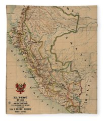 Antique Maps - Old Cartographic Maps - Antique Map Of Peru, South America, 1913 Fleece Blanket