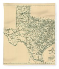 Antique Maps - Old Cartographic Maps - Antique Map Of The Highway System Of Texas, 1933 Fleece Blanket