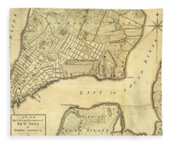 Antique Maps - Old Cartographic Maps - City Of New York And Its Environs Fleece Blanket