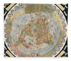Antique Maps - Old Cartographic Maps - Flat Earth Map - Map Of The World Fleece Blanket