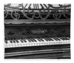 Antique Piano Black And White Fleece Blanket