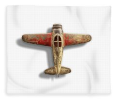 Antique Toy Airplane Floating On White Fleece Blanket