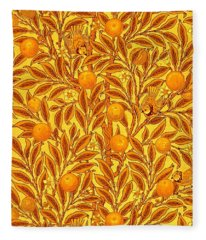 Antique Victorian Tapestry With Honey Butterscotch Golden Oranges Birds And Leaves Fleece Blanket