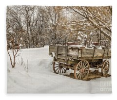 Antique Wagon In Rural America Fleece Blanket