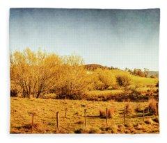 Antique Weathered Countryside Fleece Blanket