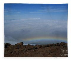 Anuenue - Rainbow At The Ahinahina Ahu Haleakala Sunrise Maui Hawaii Fleece Blanket